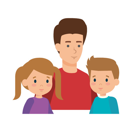 father with son and daughter characters vector illustration design