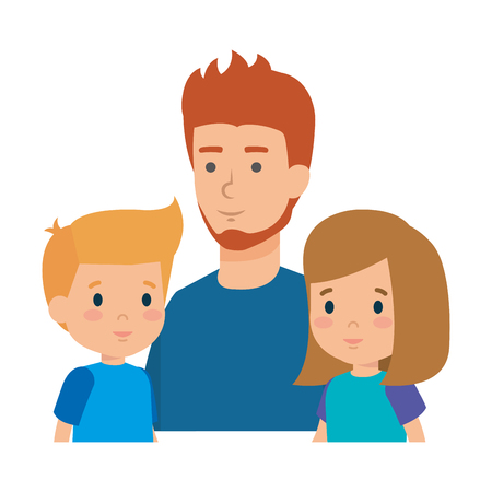 father with son and daughter characters vector illustration design Stock Vector - 116694205