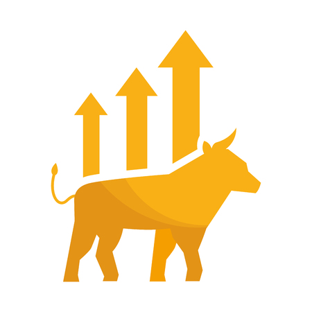 bull chart growth stock market vector illustration  イラスト・ベクター素材