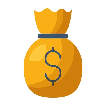 money bag dollar on white background vector illustration