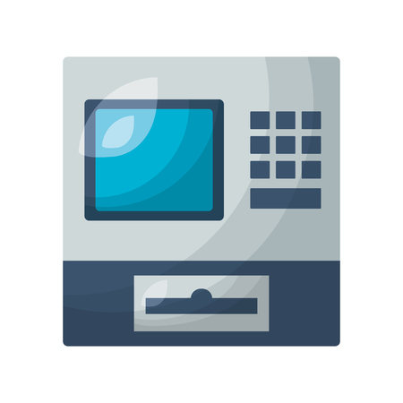 cash register device on white background vector illustration