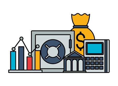 safe box bank money bag stock market vector illustration