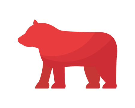 red bear symbol on white background vector illustration Çizim