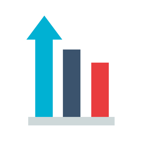 business statistics bar arrow white background vector illustration
