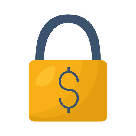 padlock money security on white background vector illustration