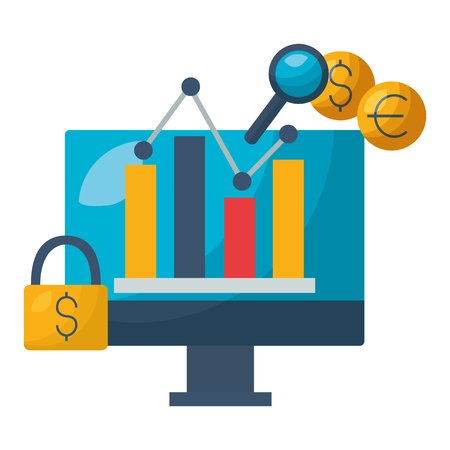computer chart secuirty exchange stock market vector illustration