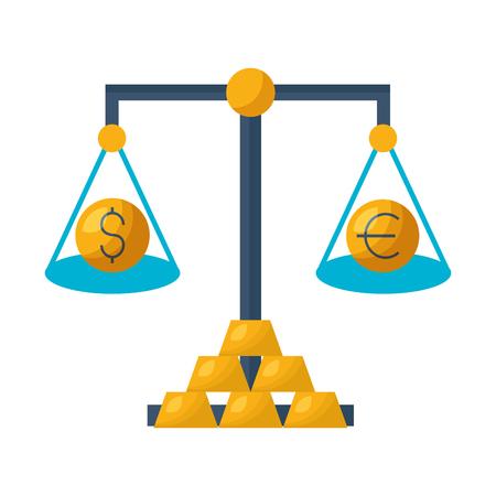 balance gold bars exchange stock market vector illustration Illustration