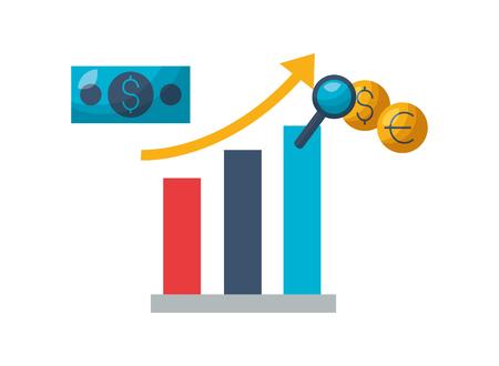 chart report money exchange stock market vector illustration