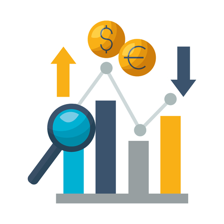 business report dollar euro upward downward vector illustration