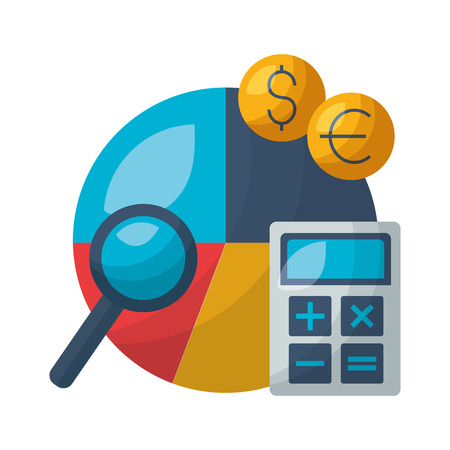 report pie chart money calculator vector illustration