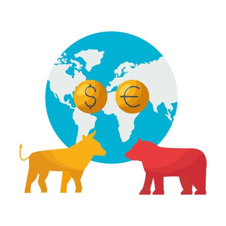 world bull bear trade coins stock market vector illustration