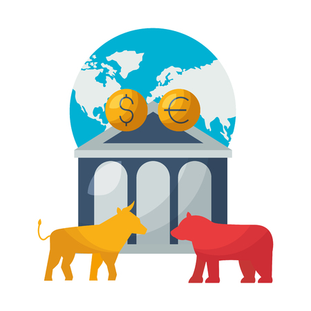 world bank bull bear dollar euro stock market vector illustration Ilustração
