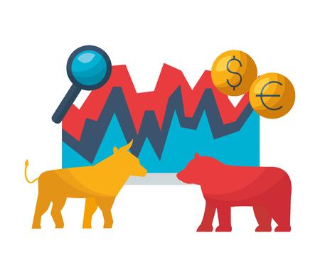 bull bear dollar euro chart stock market vector illustration Illusztráció