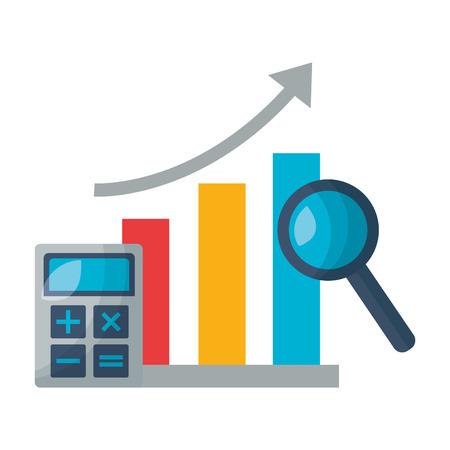 illustrazione vettoriale di analisi del calcolatore del mercato azionario del grafico
