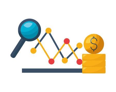 chart stock market money coins vector illustration