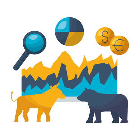 Bull Bear dollar euro graphique marché boursier vector illustration