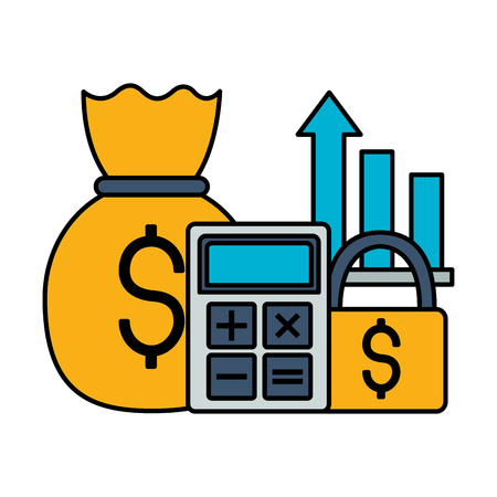 calculator money bag security chart stock market vector illustration Ilustração