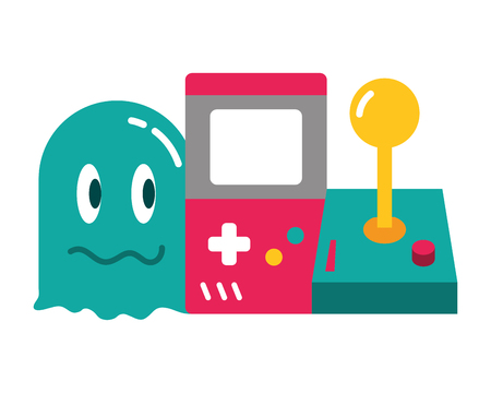 ghost console and joystick video game vector illustration