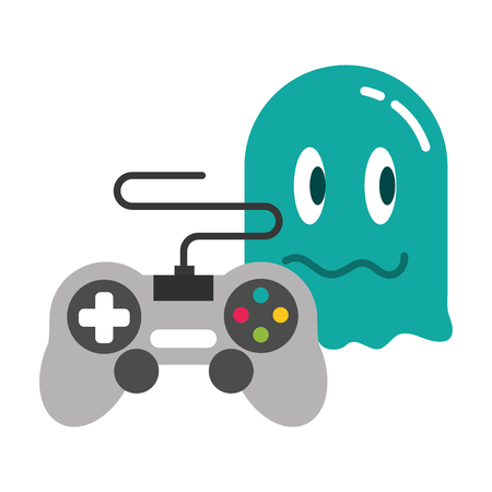 ghost controller gadget video game vector illustration