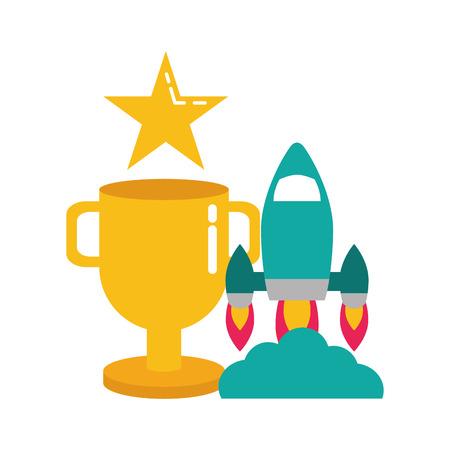 rocket trophy star video game vector illustration