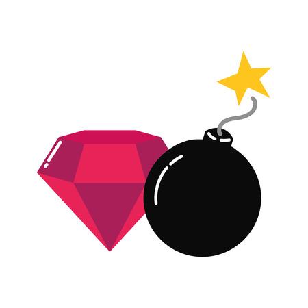 diamond bomb winner video game vector illustration