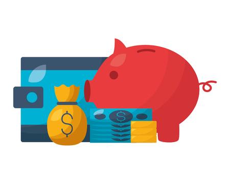 piggy bank wallet money bag stock market vector illustration Banque d'images - 125285988