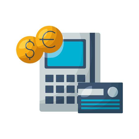 calculator bank card coins stock market vector illustration Foto de archivo - 125285989