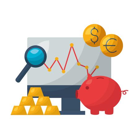 piggy bank currency report stock market vector illustration Imagens - 125285994