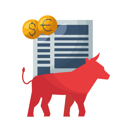 bull report money stock market vector illustration