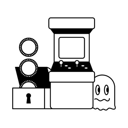 arcade chest coins ghost video game vector illustration