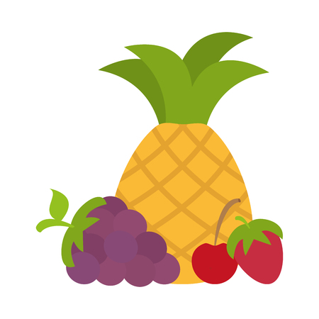pineapple grape and cherry strawberry vector illustration Imagens - 125286012