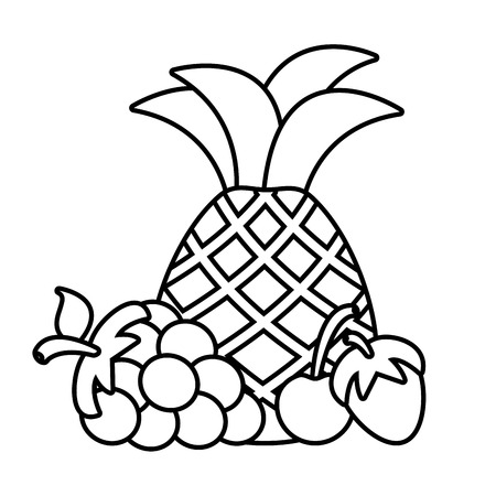 pineapple grape and cherry strawberry vector illustration Illustration