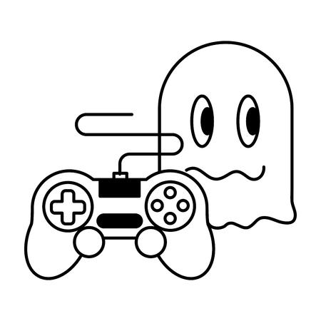 ghost controller gadget video game vector illustration Stock fotó - 125286018