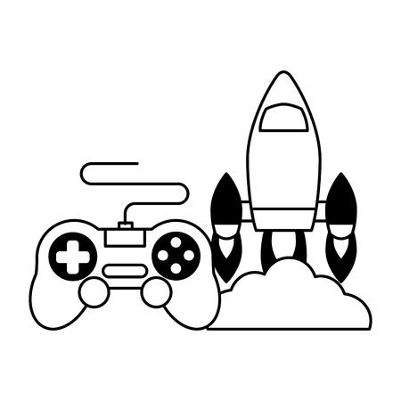 rocket control device video game vector illustration