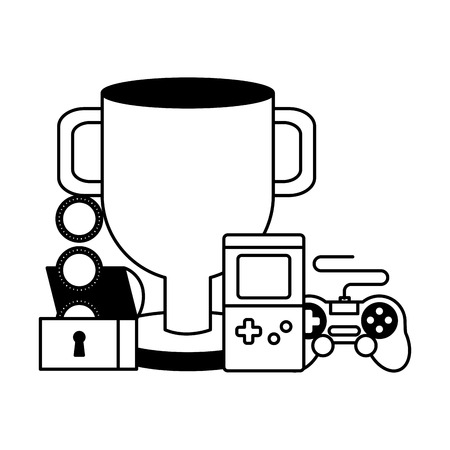 trophy chest coins console control video game vector illustration