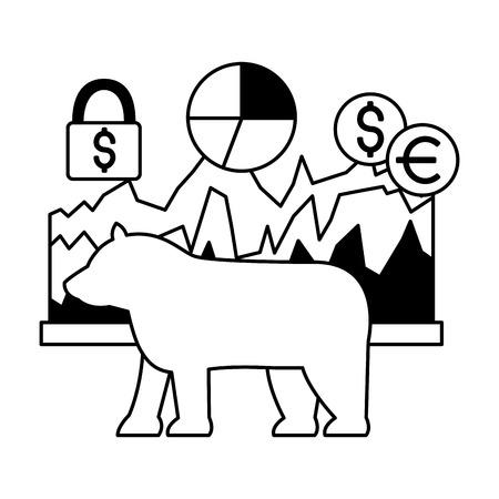 bear chart report money security stock market vector illustration