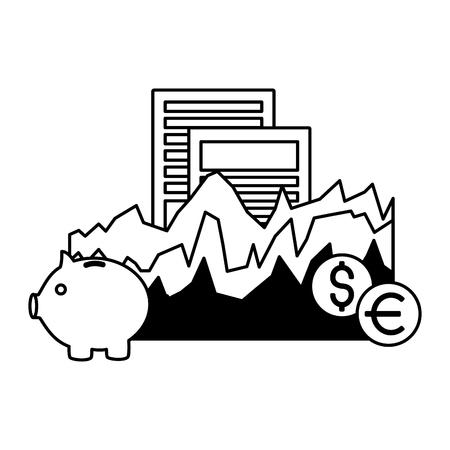 piggy bank chart document dollar euro stock market vector illustration Foto de archivo - 125286030
