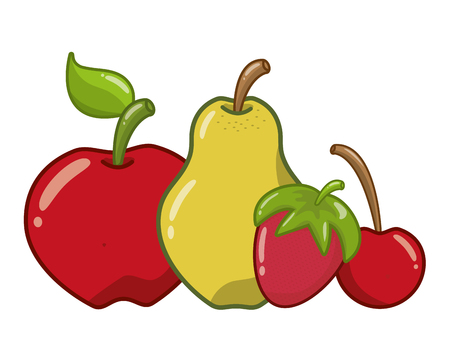 apple pear cherry strawberry fruits vector illustration Illustration
