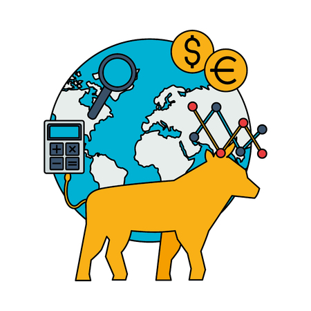 bull world trade exchange stock market vector illustration Foto de archivo - 125286036