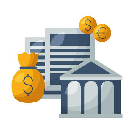 bank money bag coins stock market vector illustration Foto de archivo - 125286043