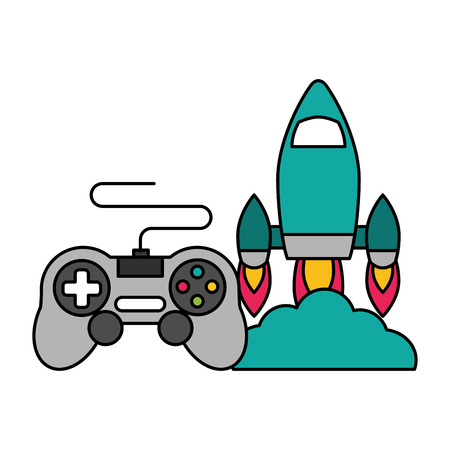 rocket control device video game vector illustration Stock Vector - 125286047