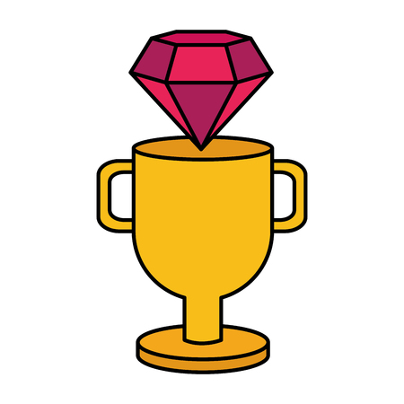 diamond trophy winner video game vector illustration 일러스트