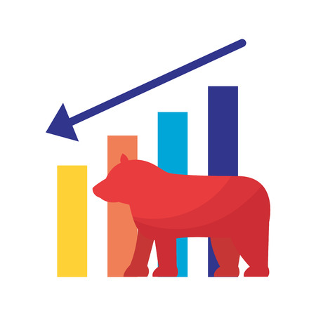 bear downtrend stock market symbol vector illustration