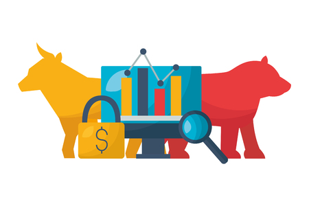 bull bear dollar chart security stock market vector illustration