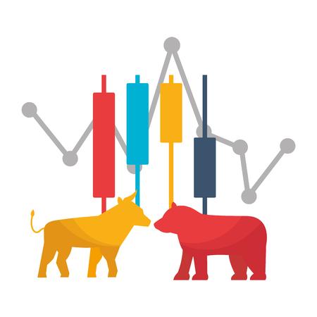 bull bear trade chart stock market vector illustration Фото со стока - 125286054