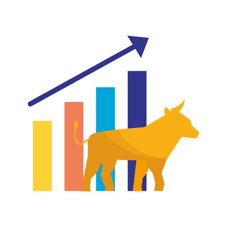bull chart growth stock market vector illustration Illustration