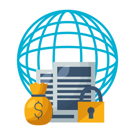 world stock market money bag security vector illustration