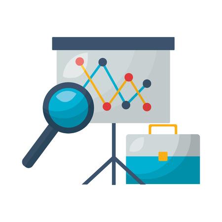 board presentation suitcase analysis stock market vector illustration
