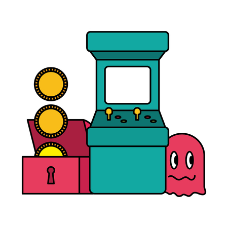 arcade chest coins ghost video game vector illustration Reklamní fotografie - 125286069