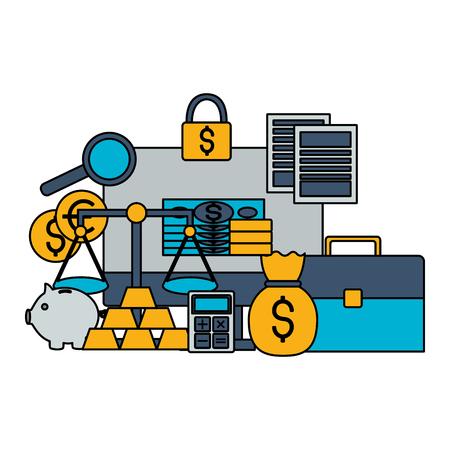 business money report trade stock market vector illustration
